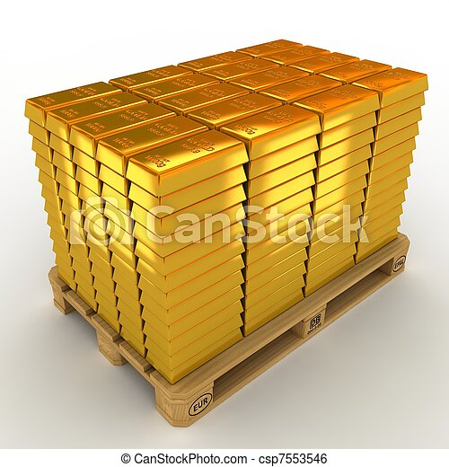A lot of Gold Bars on the pallet. - csp7553546