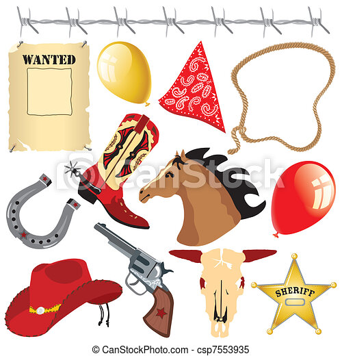Cowboy Wild West Birthday Clipart - csp7553935