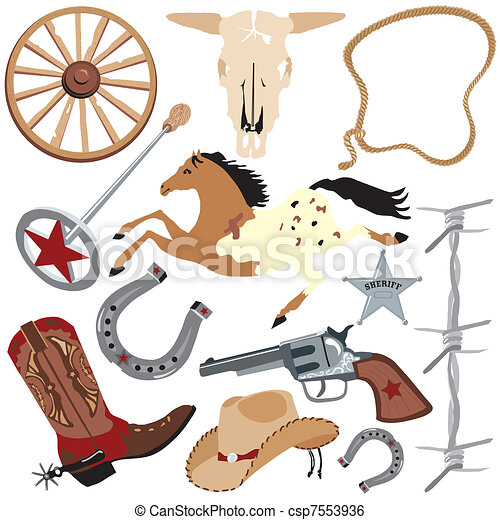 Cowboy clip art elements - csp7553936