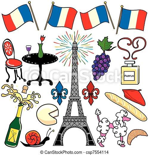 Paris France clipart elements icons - csp7554114