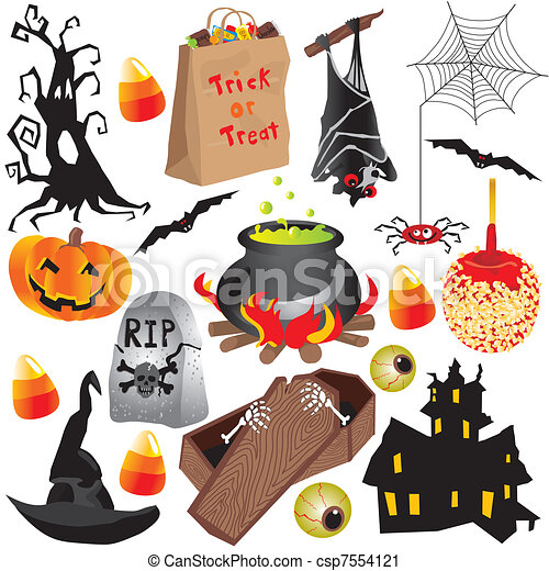 halloween clip art party elements isolated on white - Halloween Graphics Clip Art