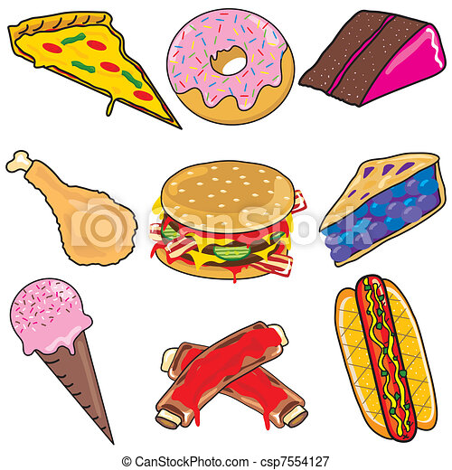 Junk food icons and elements - csp7554127