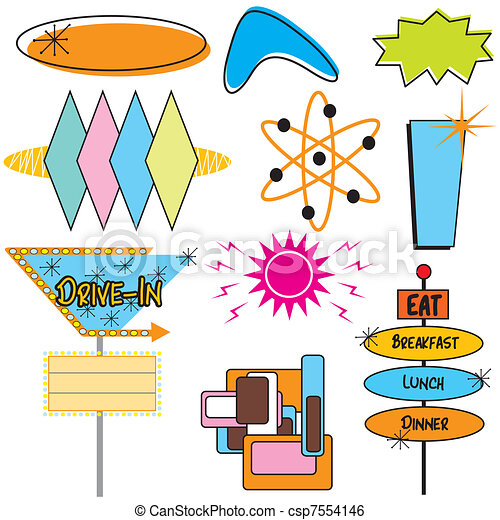 Retro Advertising Signs and symbols - csp7554146