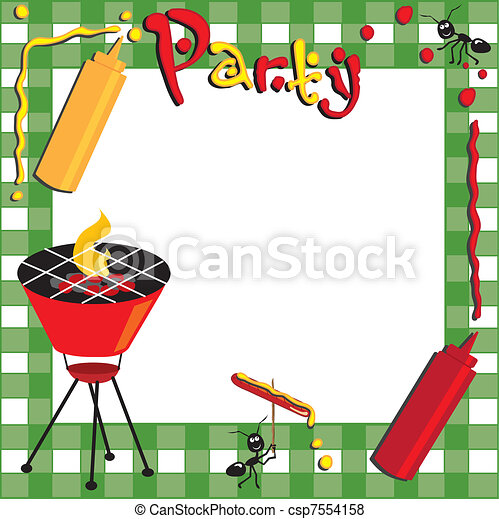 Picnic and BBQ Invitation - csp7554158