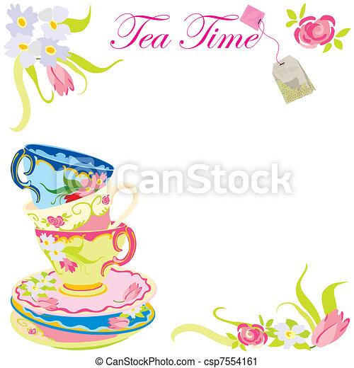Tea time party invitation - csp7554161