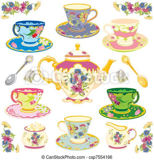 Victorian tea set - csp7554166