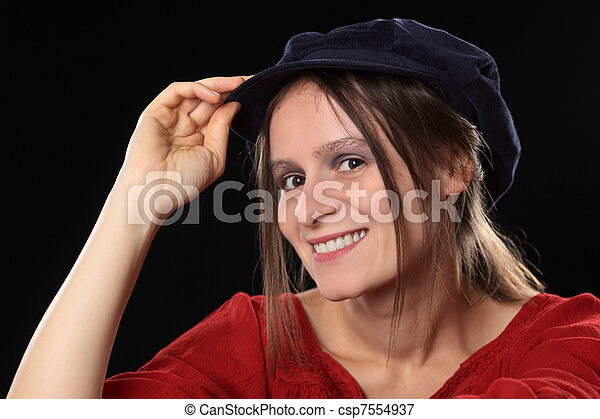 Portrait of a young woman smiling  - csp7554937