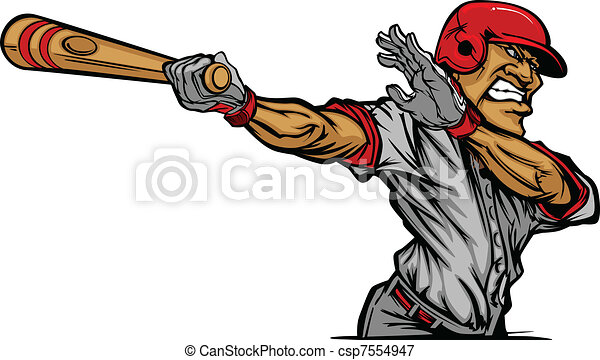 Cartoon Baseball Player Swinging Ba - csp7554947