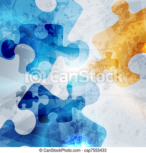 vintage corporate background. abstract puzzle shape colorful vector design - csp7555433