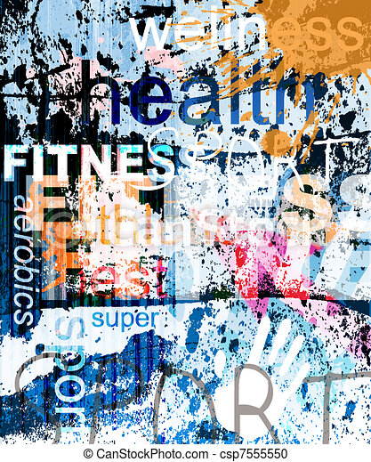 FITNESS. Word Grunge collage on background. - csp7555550