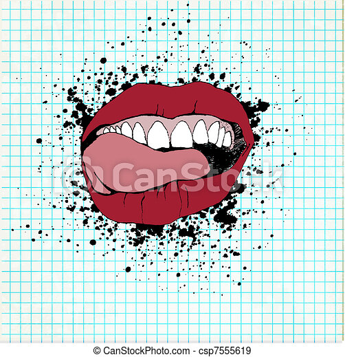 Fully open mouth with teeth and tongue and licking his lips. On a paper grunge background - csp7555619