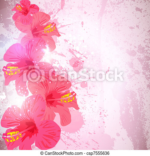 Abstract tropical background. Hibiscus flower for design. - csp7555636