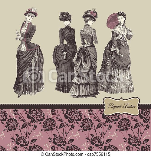 Elegant vintage ladies - csp7556115