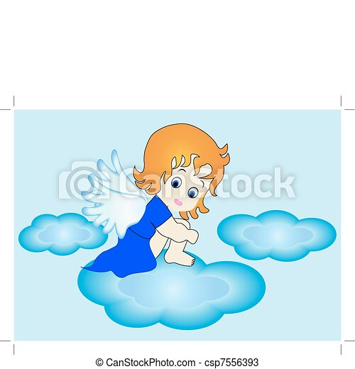 small angel sits on cloud in sky - csp7556393