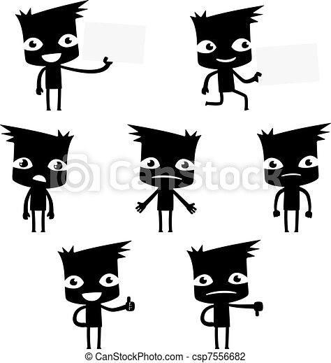set of funny cartoon man - csp7556682