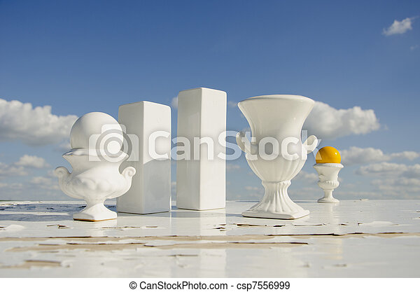 still-life with white vases and sky - csp7556999