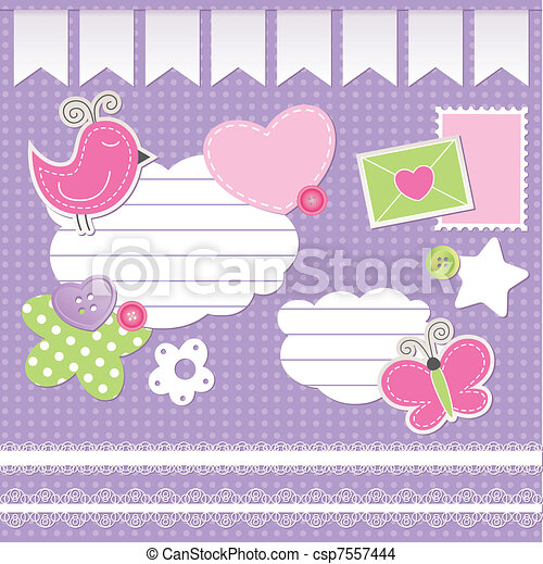 set of scrapbook elements - csp7557444