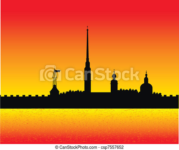 Silhouette of Peter and Paul fortress after sunset - csp7557652