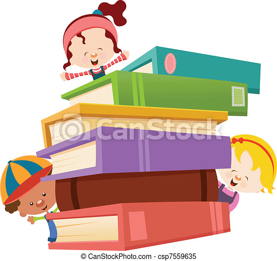 Kids with Books - csp7559635