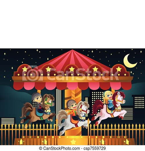 Children in amusement park - csp7559729
