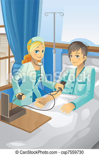 Nurse checking on patient - csp7559730