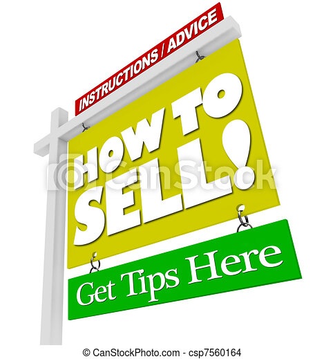 Home for Sale Sign - How to Sell Advice Information - csp7560164