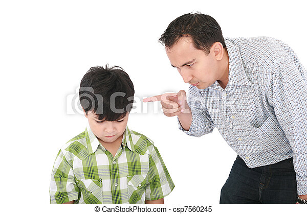 A father is threatening his little boy with a finger  - csp7560245