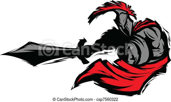 Spartan Trojan Silhouette Mascot St - csp7560322