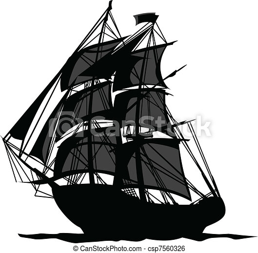 Pirate Ship with Shadows in Sails - csp7560326