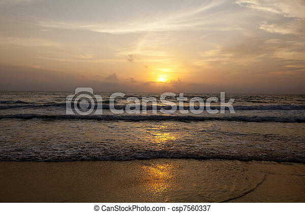 Sunset on the Beach - csp7560337