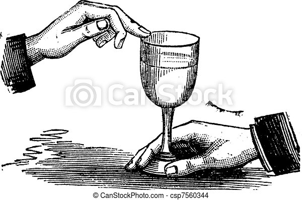 How to produce sound resonance with a wet finger on a wine glass vintage engraving - csp7560344