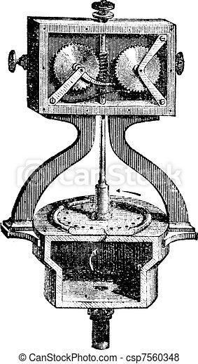 Civil defense siren internal mechanism of a Siren or Alarm vintage engraving - csp7560348
