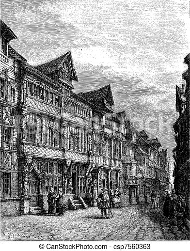Old wooden houses in Lisieux (sixteenth century). - Drawing Catenacci, vintage engraving. - csp7560363