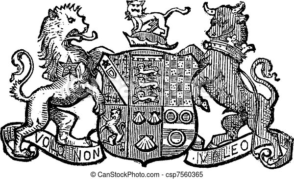 Volo Non Valeo a family motto assigned by King Charles II, vintage engraving. - csp7560365