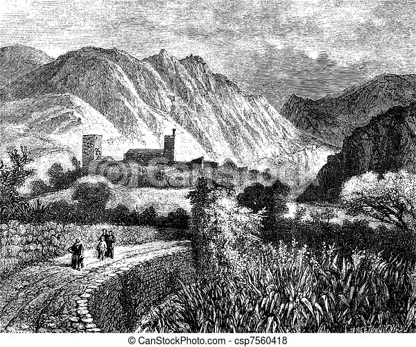 Le Vernet and Mount Canigou; view taken on the north side. - Drawing Ph. Blanchard, vintage engraving. - csp7560418