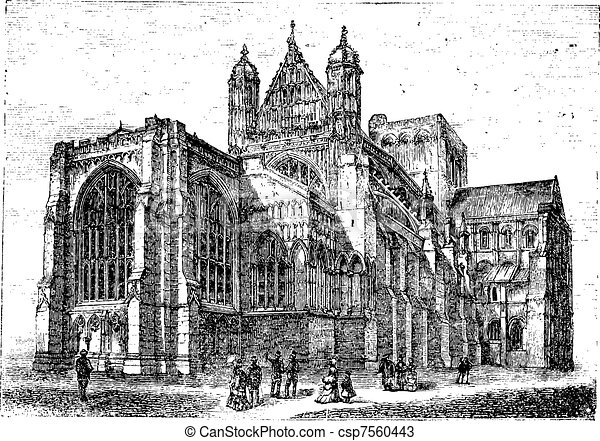 Winchester Cathedral in Winchester Hampshire England vintage engraving - csp7560443