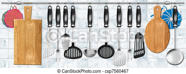 Horizontal set kitchen utensils - csp7560467