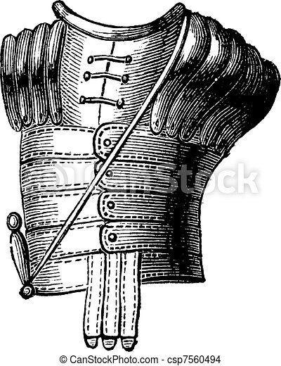 The Greek armor vintage engraving - csp7560494
