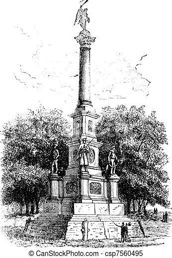 Soldiers\' Monument, Worcester, Massachusetts, USA, during the 1890s, vintage engraving. Old engraved illustration of Soldiers\' Monument.