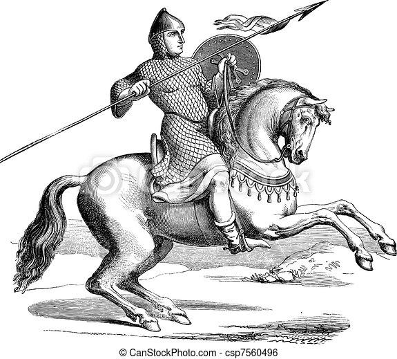 Knight on a horse wearing hauberk vintage engraving - csp7560496