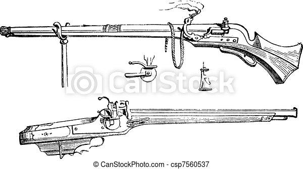 Arquebus or Hook tube vintage engraving - csp7560537