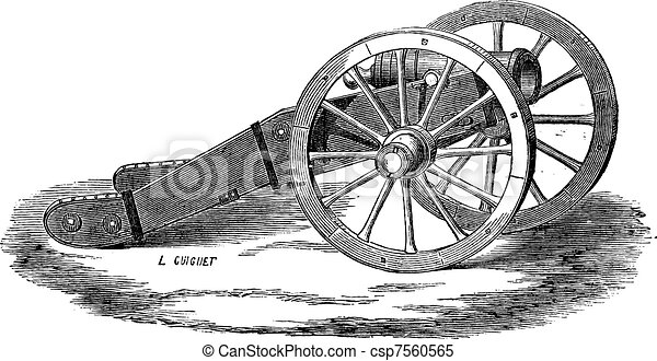 Mounting of howitzer (Valliere system) vintage engraving - csp7560565
