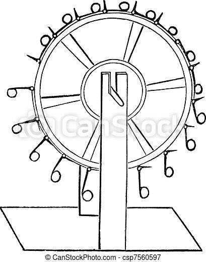 Perpetual motion of capra, vintage engraving. - csp7560597