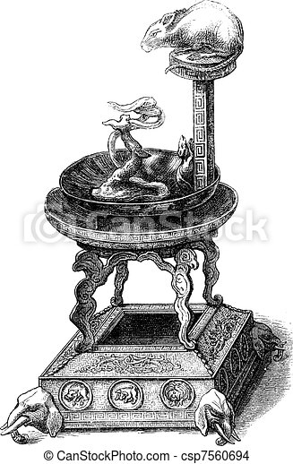 Collection Cernuschi. - Japanese lamp. - Drawing Feart, vintage engraving. - csp7560694