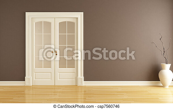 empty interior with sliding door - csp7560746