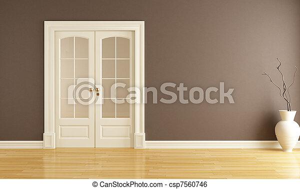 empty interior with sliding door - csp7560746