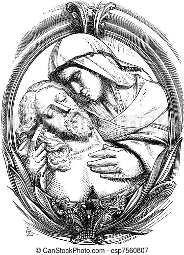 A pieta is the Hospice of Genoa, a medallion attribute Michelangelo. Drawing Chevignard, vintage engraving. - csp7560807