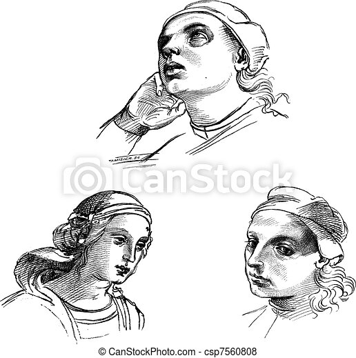 Pen drawings by Raphael, at the Academy of Fine Arts of Venice. - Drawing Chevignard, vintage engraving. - csp7560808