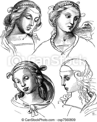 Pen drawings by Raphael, at the Academy of Fine Arts of Venice. - Drawing Chevignard, vintage engraving. - csp7560809
