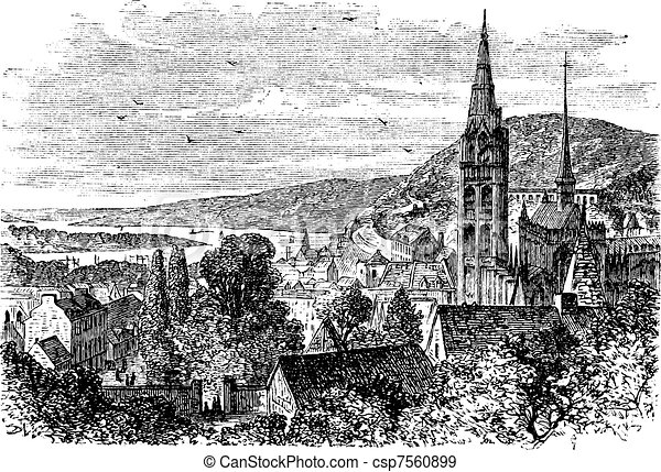 Caudebec-en-Caux or canton vintage engraving - csp7560899